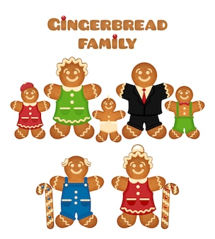 Familia de pan de jengibre. confitería hijo madre padre abuela hija abuelo.