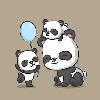 Familia de panda jugando junto con globos azules