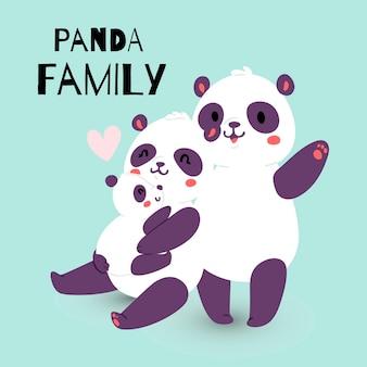 Familia panda con madre adulta y padre con niño oso