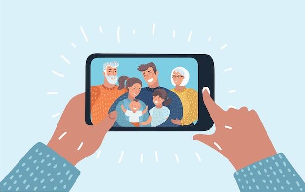 Familia en la pantalla del portátil