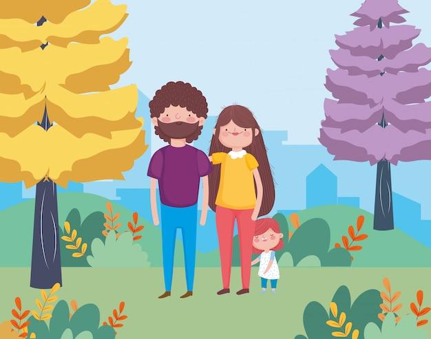 Familia en el parque de la ciudad feliz celebración de acción de gracias