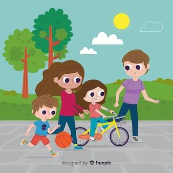 Familia en el parque dibujada a mano