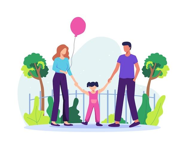 Familia pasando tiempo juntos. padres felices con hija divirtiéndose juntos. niña con globos, concepto de crianza y niñez. ilustración de vector de estilo plano
