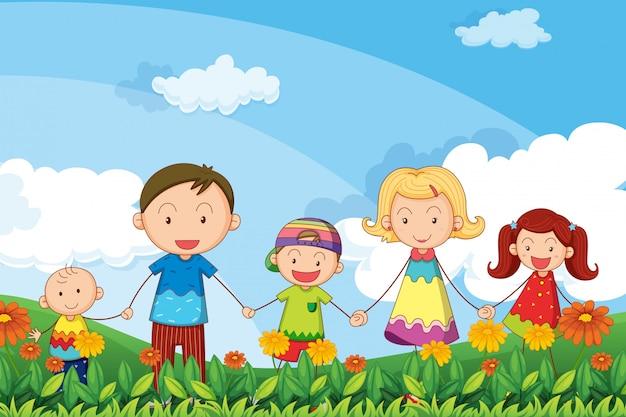 Una familia paseando por el jardín.