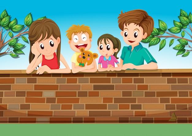 Una familia en el patio trasero