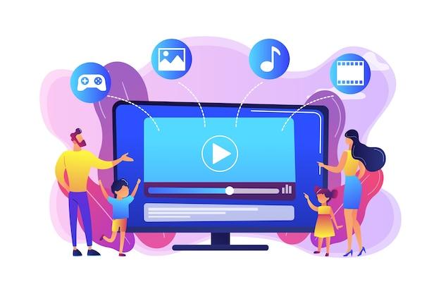 Familia de personas diminutas con niños viendo contenido de televisión inteligente. contenido de smart tv, programa interactivo de smart tv, concepto de contenido de alta resolución. ilustración aislada violeta vibrante brillante