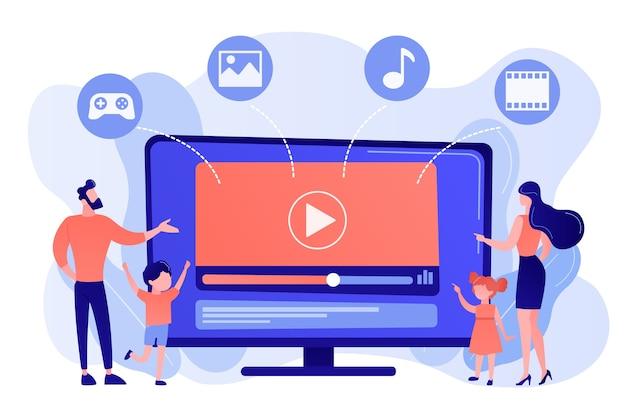 Familia de personas diminutas con niños viendo contenido de televisión inteligente. contenido de smart tv, programa interactivo de smart tv, concepto de contenido de alta resolución