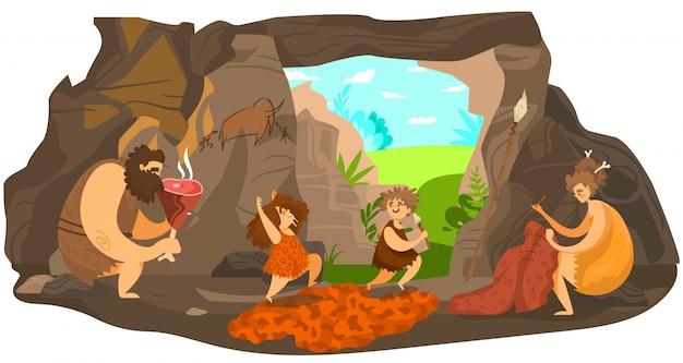 Familia de personas prehistóricas, niños primitivos felices jugando, padres de la edad de piedra viven en una cueva, ilustración