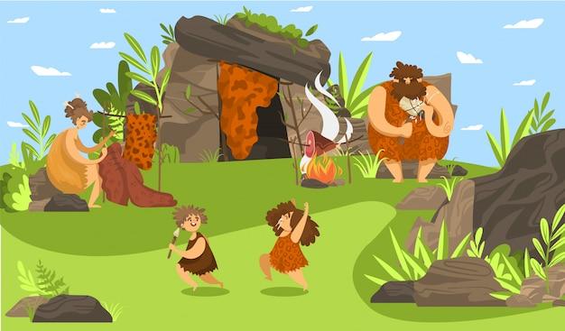 Familia de personas primitivas, niños prehistóricos felices jugando, padres de edad de piedra usando herramientas, ilustración