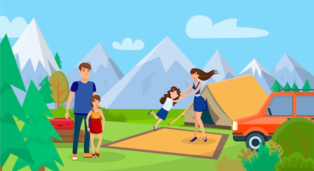 Familia en picnic, ilustración de vector de viaje de campamento