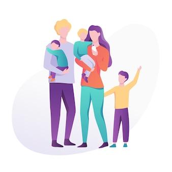 Familia de pie unida. madre, padre, hijo e hija pasan tiempo juntos. niño feliz. ilustración