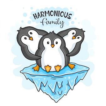 Familia de pingüinos armoniosos