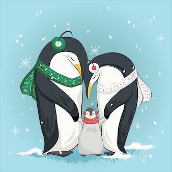 Familia de pingüinos lindos