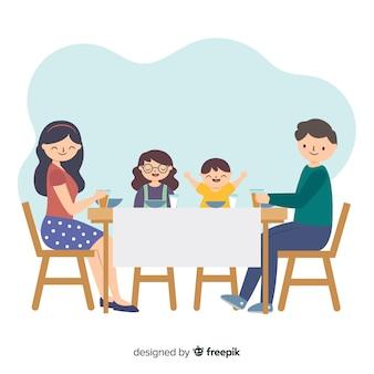 Familia plana alrededor de la mesa dibujada a mano