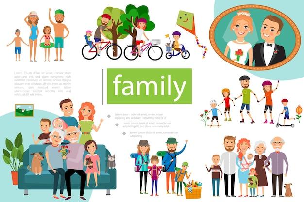 Familia plana feliz con padre, madre e hijos que tienen una ilustración de estilo de vida saludable