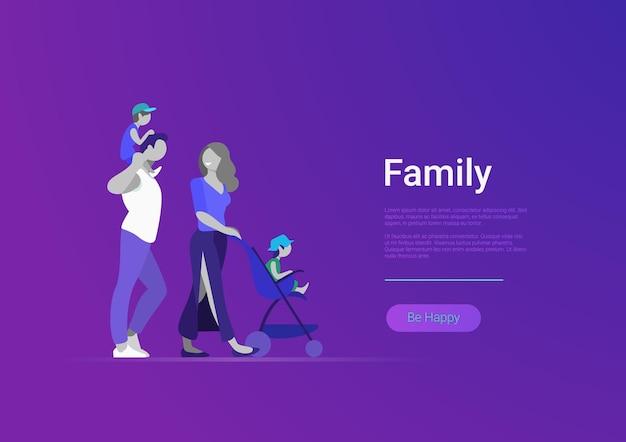 Familia plana con ilustración de banner de plantilla de sitio web de vector de niños