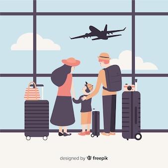 Familia plana viajando