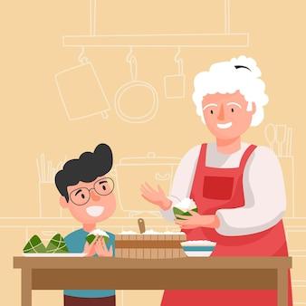 Familia preparando y comiendo arroz zongzi