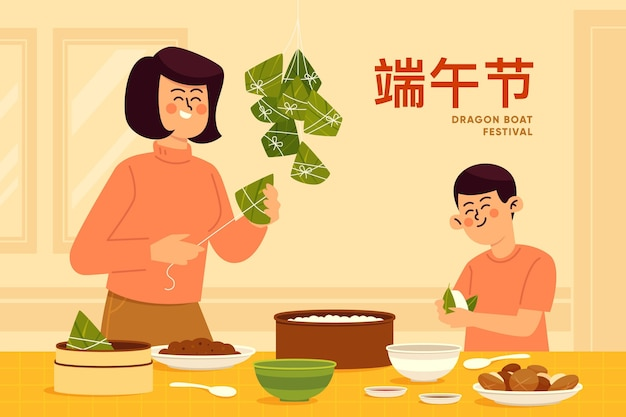 Familia preparando y comiendo zongzi en diseño plano
