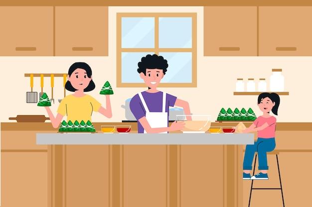 Familia preparando y comiendo zongzi ilustrado