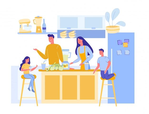Familia preparar cena vegetariana en cocina moderna