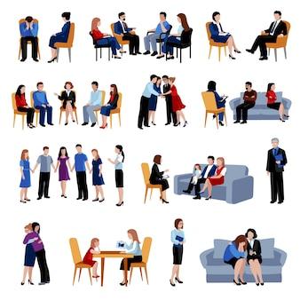Familia y problemas de relación asesoramiento y terapia con iconos planos de grupo de apoyo