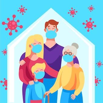 Familia protegida de la ilustración del virus