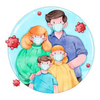 Familia protegida del virus ilustrado