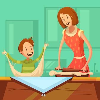 Familia que cocina el fondo con la madre y el hijo que hacen los pasteles
