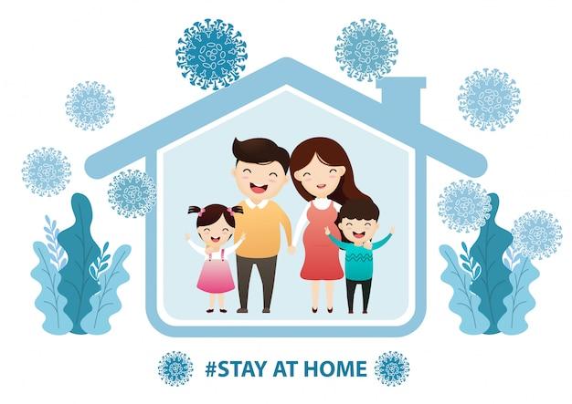 Familia que se queda en casa en cuarentena, protección contra virus.