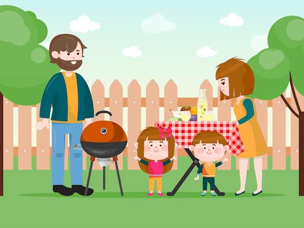 Familia que tiene una barbacoa en la ilustración del patio trasero.