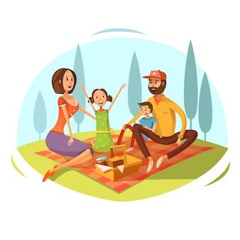 Familia que tiene comida campestre en el concepto de la hierba con pan y mermelada ilustración vectorial de dibujos animados