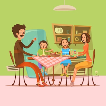 Familia que tiene comida en la cocina con nevera y mesa de dibujos animados retro ilustración vectorial