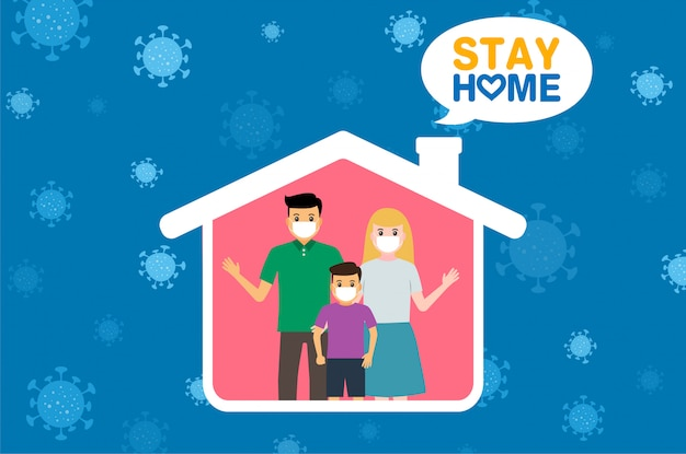La familia se queda en casa durante el coronavirus. signo covid-19