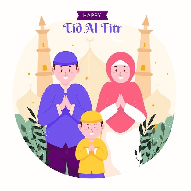 Familia ramadán kareem mubarak celebrando eid al fitr con niños, niños y padres.