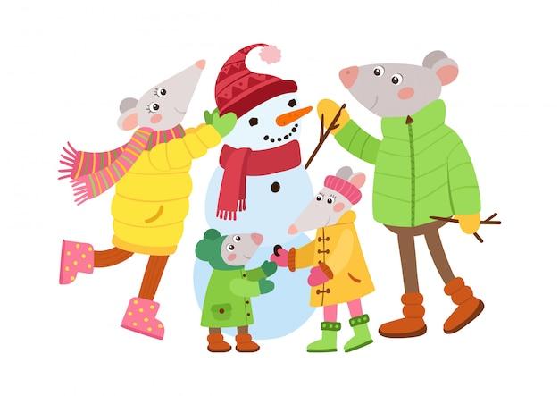 Familia de ratas haciendo muñeco de nieve
