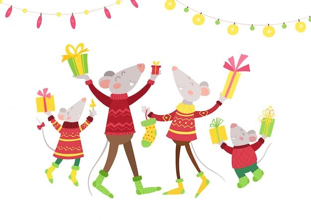Familia de ratones feliz con regalos ilustración vectorial plana