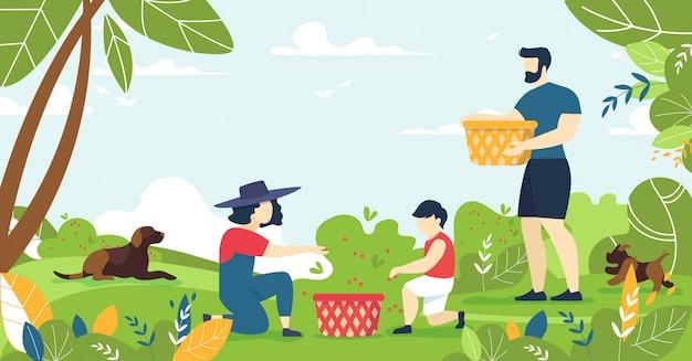 Familia recogiendo bayas del bosque y descansando en la naturaleza