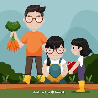 Familia recogiendo zanahorias dibujada a mano