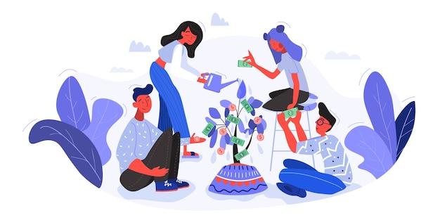 Una familia regando y criando juntos un árbol del dinero.