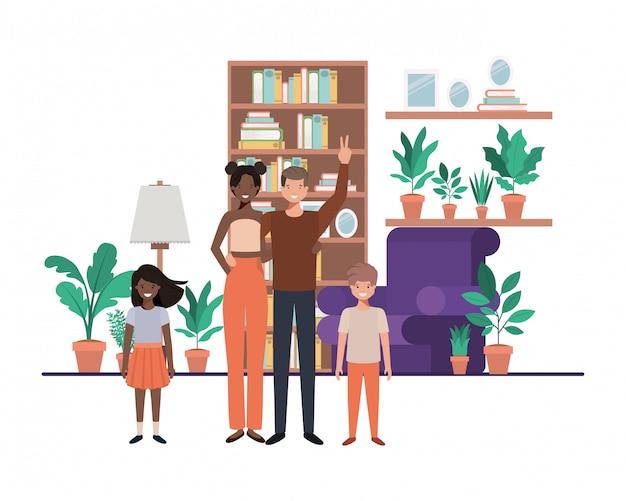 Familia en la sala de estar con personaje de avatar de biblioteca