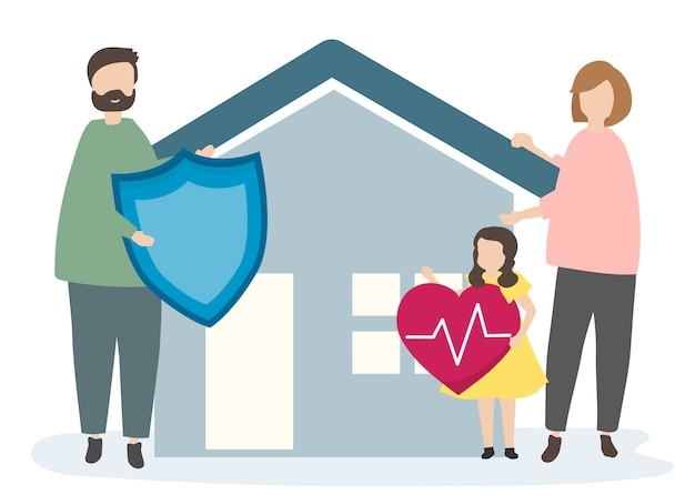 Familia con seguro de hogar y seguridad.