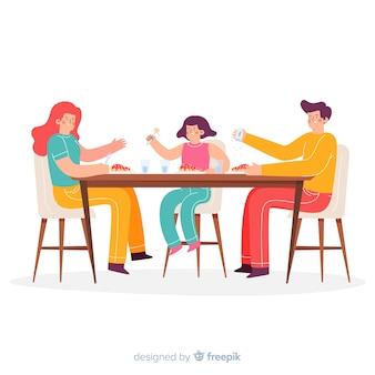 Familia sentada alrededor de la mesa dibujada a mano