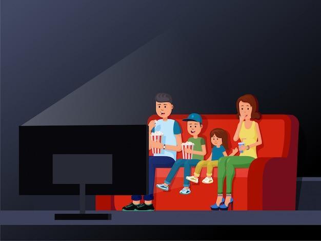 Familia sentada en un cómodo sofá y disfrutando de una interesante ilustración de vector de película