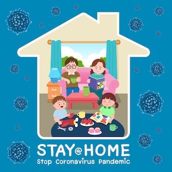 Familia sentada quedarse en casa, autoaislamiento, concepto de atención médica temores de contraer coronavirus epidemia o pandemia viral global