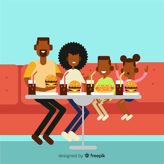 Familia sentada en el sofá alrededor de la mesa dibujada a mano