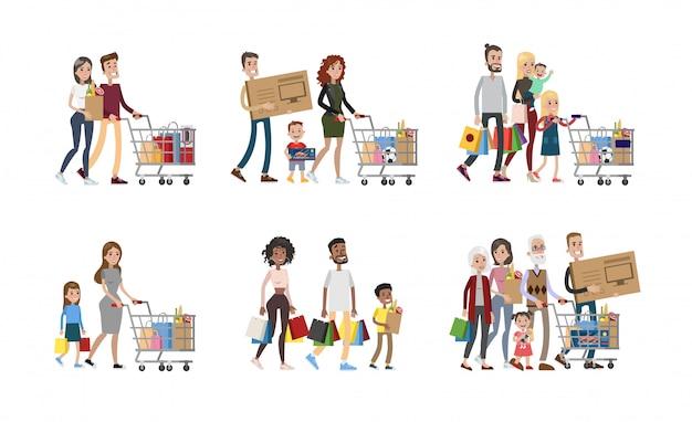 Familia en el set de compras. padres e hijos, abuelos y bebés.