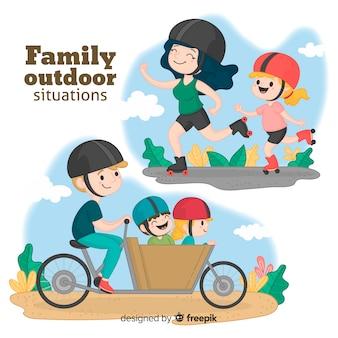 Familia sobre ruedas dibujada a mano