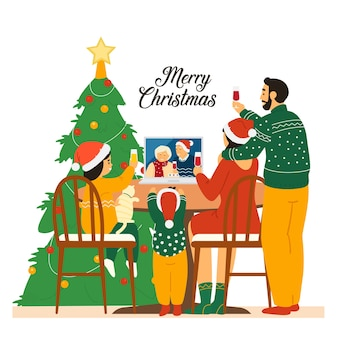 Familia con sombreros de santa celebrando la navidad con los abuelos mediante videoconferencia.