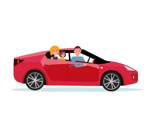 Familia sonriente dentro de su nuevo coche rojo. conductor al volante del coche. mamá e hija están sentadas en el asiento trasero.